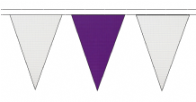 WHITE AND PURPLE TRIANGULAR BUNTING - 10m / 20m / 50m LENGTHS